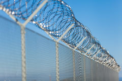Coiled razor wire on top of a fence. Coiled razor wire with its sharp steel barbs on top of a wire mesh perimeter fence ensuring safety and security, preventing Royalty Free Stock Photography