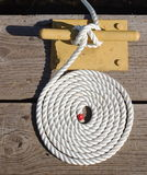 Coiled Rope. On Windigo Dock - Isle Royale National Park Royalty Free Stock Photo