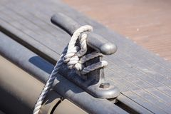 Coiled rope on boat`s deck Stock Photography