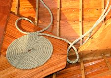 Coiled rope on a classic yacht Royalty Free Stock Photography