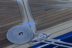 Coiled rope on the deck. Stock Images