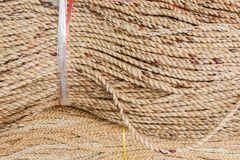 Coiled rope. Coiled natural rope showing texture Royalty Free Stock Photos
