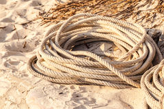 Coiled rope. An old coiled rope on the sand of a tropical beach Royalty Free Stock Image