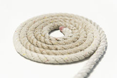 Coiled rope on yacht deck Stock Images