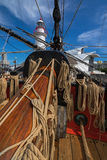 Coiled ropes and bowsprit at foredeck of Tall Ship HMB Endeavour Royalty Free Stock Photos