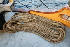 Coiled ropes on the deck of a sailing ship Royalty Free Stock Photography
