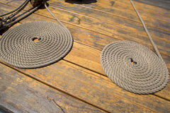A coiled ropes on a pier background Stock Photo