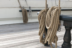 Coiled ropes on sailing ship Royalty Free Stock Photos