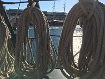 Coiled ropes on sailing ship Royalty Free Stock Photography