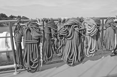 Coiled Ropes on Yacht Stock Image