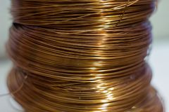 Coils av koppartråd royaltyfri fotografi