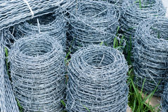 Coils of barbed wire Stock Photos