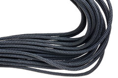 Coils of black braided cord Stock Photography