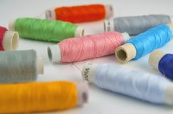 Coils of colorful threads. A lot of spools of colorful threads Stock Photography