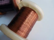 Coils with copper filaments at close range stock photography