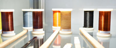 Coils with copper wire Stock Photos