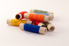 Coils with multi-colored threads royalty free stock image