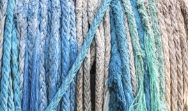 Old Frayed Rope. Coils of Old Frayed Rope on a tug boat royalty free stock photography