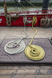 Coils of rope on deck Tall Ship Royalty Free Stock Image