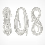 Coils of rope on white Stock Image