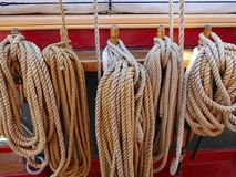 Coils of thick rope. On a sailing ship stock photo