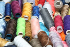 Coils of a thread. Mix, image, fiber, textile, material Royalty Free Stock Images