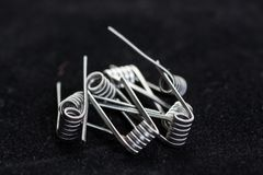 Coils for vape. Or e-cig dripping atomizers, accessories for vaping, macro shot stock photo