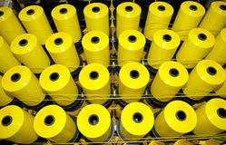 Coils of yellow threads Royalty Free Stock Images