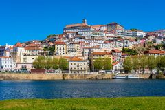 Coimbra Portugal. As seen from across the Mondego River.nn Royalty Free Stock Images