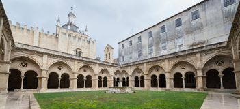 Old Cathedral Se Velha in Coimbra, Portugal royalty free stock images