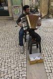 Coimbra Portugal, Juni 11, 2018: Gatamusiker med plommoner för en hund Royaltyfri Fotografi