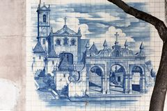 Traditional tile panel collection, painted with famous monuments, in the Coimbra city region, on exhibition in downtown Coimbra. Coimbra / Portugal - 04 04 2019 royalty free stock images
