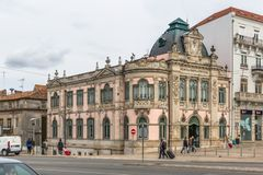 View of classic building with Banco de Portugal, the Portuguese public bank, in Coimbra stock photography
