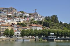 Coimbra and the river Mondego Stock Image