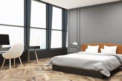 Coin élégant de chambre à coucher principale, gris Photographie stock