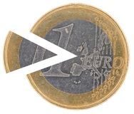 Coin 1€ with a remoted sector Stock Images