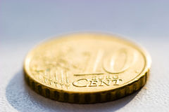 Coin. Close-up of an uncirculated Euro cents coin on white Royalty Free Stock Images