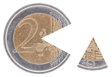 Coin 2€ with a remoted sector Royalty Free Stock Photo