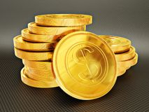 Coin. Gold coin on a black background isolated Royalty Free Stock Photo