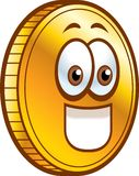Coin. A shiny gold coin smiling Royalty Free Stock Photo