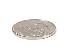 Coin. With a face value of five rubles stock photo