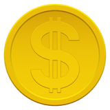 Coin. Gold coin icon with the dollar symbol Royalty Free Stock Photography