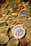 Coin. Pile of Euro money coins Stock Photos