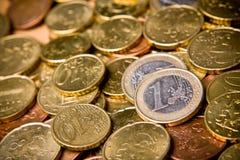 Coin. Pile of Euro money coins Royalty Free Stock Photos
