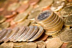 Coin. Pile of Euro money coins Stock Photo