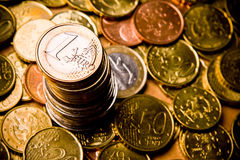 Coin. Pile of Euro money coins Stock Images