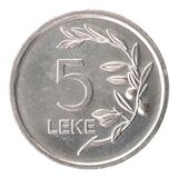 Coin Albanian Lek. Five Albanian lek isolated on white background stock images