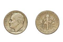 Coin anziana, 1946, una moneta da dieci centesimi di dollaro Fotografie Stock Libere da Diritti