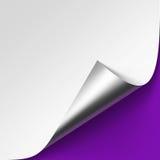 Coin argenté métallique courbé du livre blanc avec la fin de moquerie d'ombre sur Violet Purple Lilac Background Image libre de droits
