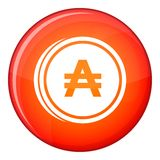 Coin austral icon, flat style Royalty Free Stock Images